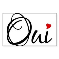 Oui, French word art with red heart Decal