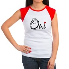 Oui, French word art with red heart T-Shirt