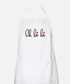 Oh la la, French word art with red hearts Apron
