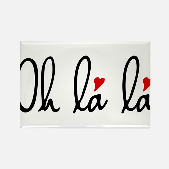 Oh la la, French word art with red hearts Rectangl