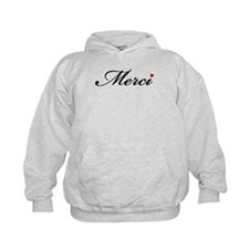 Merci, French word art with red heart Hoodie
