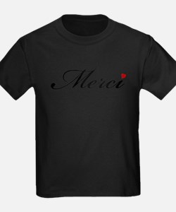 Merci, French word art with red heart T-Shirt