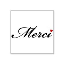Merci, French word art with red heart Sticker