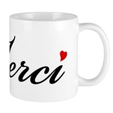 Merci, French word art with red heart Mug