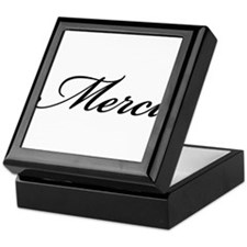 Merci, French word art with red heart Keepsake Box