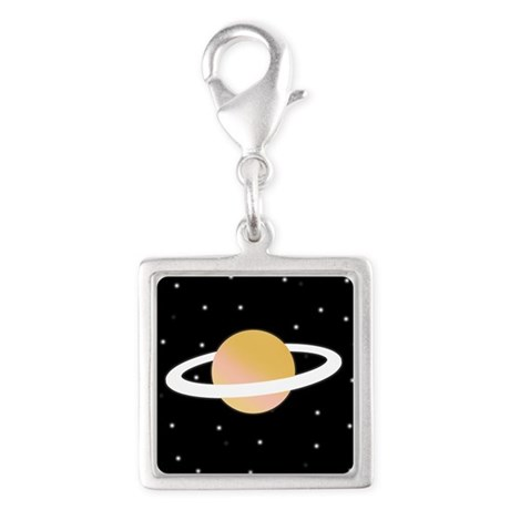 'Saturn' Silver Square Charm