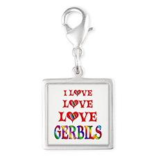 Love Love Gerbils Silver Square Charm