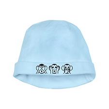 Three Wise Monkeys Emoji baby hat