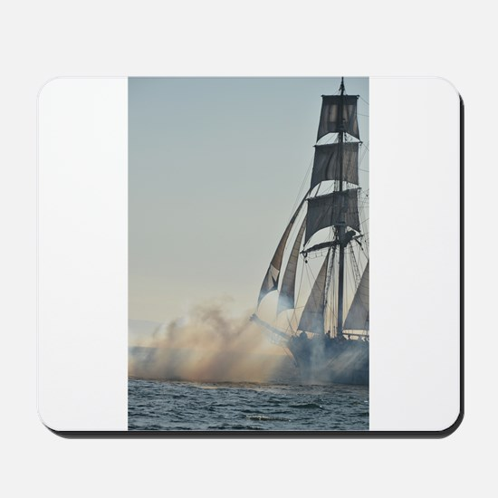 Tall ship firing guns Mousepad