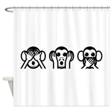 Three Wise Monkeys Emoji Shower Curtain