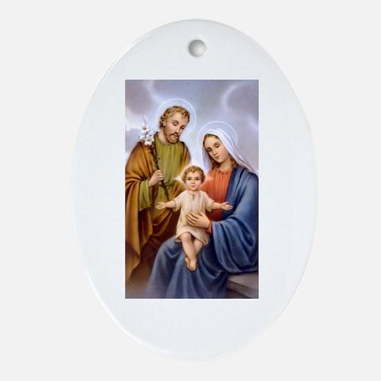 Jesus, Mary and Joseph Oval Ornament