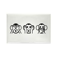 Three Wise Monkeys Emoji Rectangle Magnet