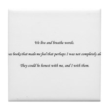 We Live and Breath Words Tile Coaster