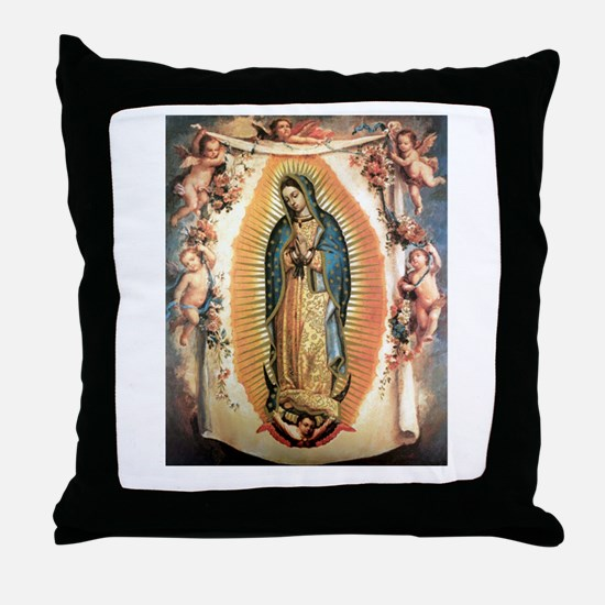 Our Lady Guadalupe with Angel Throw Pillow