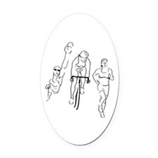 Triathlon Woman Oval Car Magnet