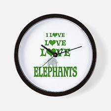 Love Love Elephants Wall Clock