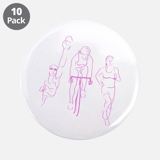 "Triathlon Woman 3.5"" Button (10 pack)"