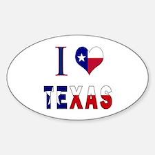 I (Heart) Love Texas Flag Sticker (Oval)