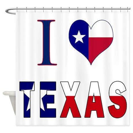 I Heart Love Texas Flag Shower Curtain By Texasheritage