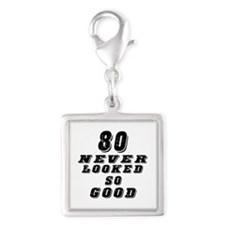 80 Birthday Designs Silver Square Charm