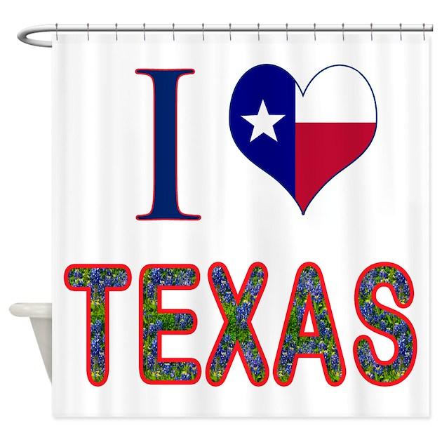 I Love Texas Bluebonnet Flag Shower Curtain By Texasheritage
