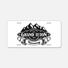 Grand Teton Mountain Emblem Black Aluminum License