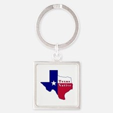 Texas Native Flag Map Square Keychain