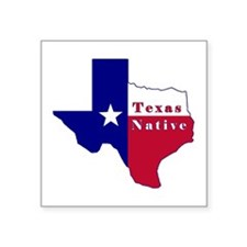 "Texas Native Flag Map Square Sticker 3"" x 3"""