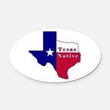 Texas Native Flag Map Oval Car Magnet