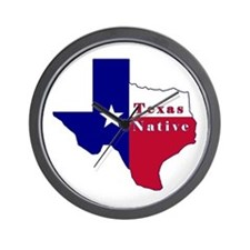 Texas Native Flag Map Wall Clock