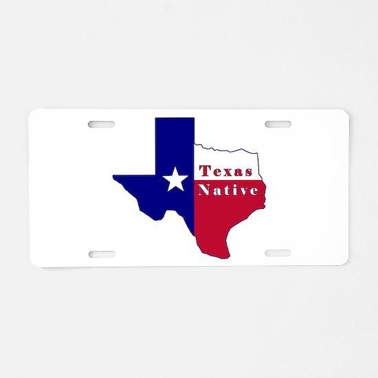 Texas Native Flag Map Aluminum License Plate