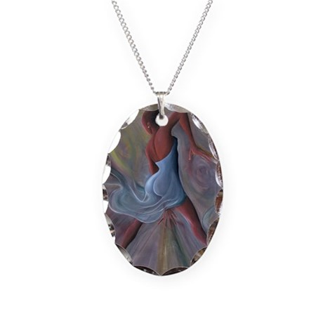 Blue Dress @oil on canvasA - Necklace Oval Charm