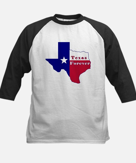 Texas Forever Flag Map Kids Baseball Jersey