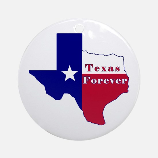Texas Forever Flag Map Ornament (Round)