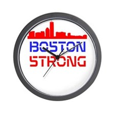 Boston Strong Skyline Red White and Blue Wall Cloc
