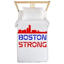 Boston Strong Skyline Red White and Blue Twin Duve