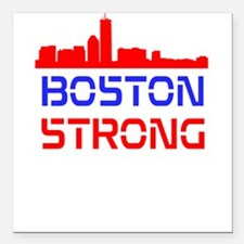 Boston Strong Skyline Red White and Blue Square Ca