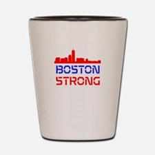 Boston Strong Skyline Red White and Blue Shot Glas