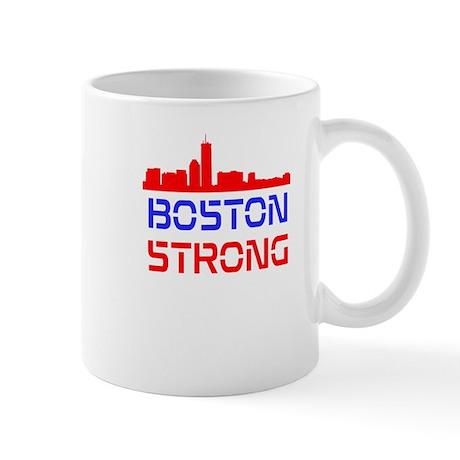 Boston Strong Skyline Red White and Blue Mug