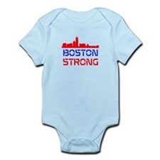 Boston Strong Skyline Red White and Blue Body Suit