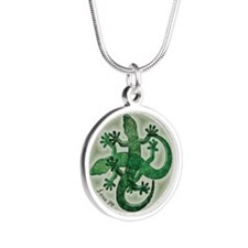 Green salamanders - Silver Round Necklace