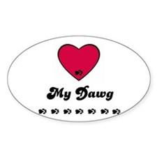 LOVE MY DAWG Oval Decal