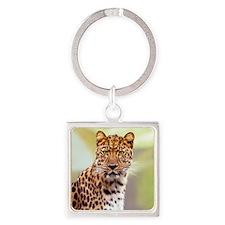 Leopard Photograph Square Keychain