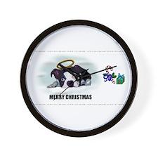 MERRY CHRISTMAS BOSTON TERRIER ANGEL Wall Clock