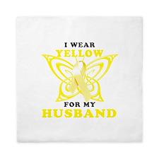 I Wear Yellow For My Husband Queen Duvet
