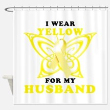 I Wear Yellow For My Husband Shower Curtain