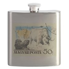Vintage 1956 Hungary Puli Dog Postage Stamp Flask