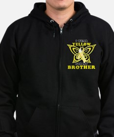 I Wear Yellow For My Brother Zip Hoodie
