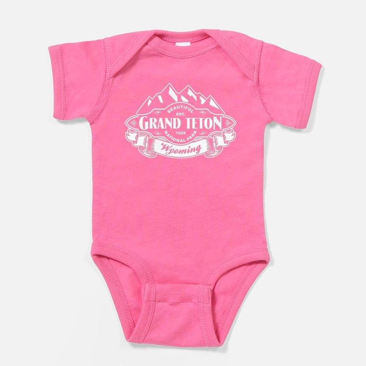 Grand Teton Mountain Emblem Black Baby Bodysuit