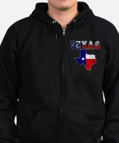 Flag Map With Texas Zip Hoodie